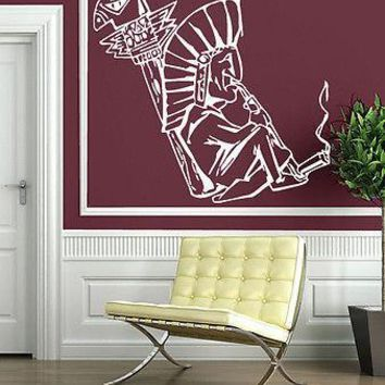 Wall Stickers Indian Peace Pipe Tobacco Calumet Religion Hist Vinyl Decal Unique Gift (n317)