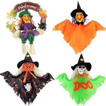 2016 New Halloween Decoration Props Halloween Pumpkin Witch Garland Hanging Kito Resin Straw Doll Scary Horror Halloween Gift
