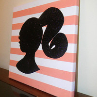Glitter Barbie Silhouette on Striped Canvas