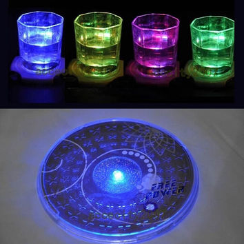 Hot Color Changing LED Lights Bottle Cup Mat Coaster For Clubs, Bars Party = 1946410692