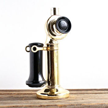 Vintage Candlestick Phone Avon Cologne Bottle - Retro Gold & Black Glass Decanter - Antique Style Phone