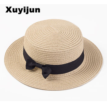 Lady Boater sun caps Ribbon Round Flat Top Straw Fedora
