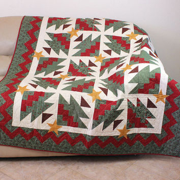 Green Trees and Rick Rack Border Christmas Throw Quilt with Green Back