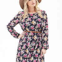 FOREVER 21 PLUS Belted Rose Print Dress Navy/Fuchsia