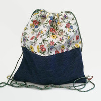 Flowers and Denim Upcycled Drawstring Backpack,  Cinch Sack, Hipster Back Pack OOAK