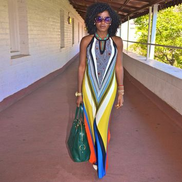 Colorful long Yellow Dashiki african print dresses for women Traditional