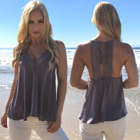 Lace & Satin Blouse In Charcoal Grey