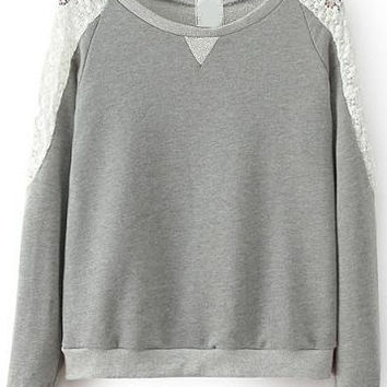 Grey Sheer Lace Shoulder Round Neckline Sweatshirt
