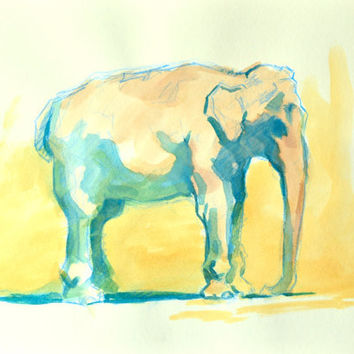 Indian Elephant Painting Watercolor Original Yellow and Blue 9x12