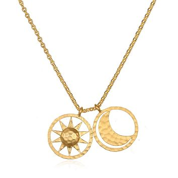 Sun and Moon Gold Necklace