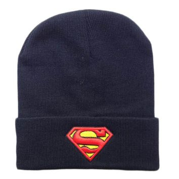 Sports Hat Cap trendy  Hot 2016 New Fashion Winter Embroidered Beanie Hat Superman Batman Knitted Hat For Women Men Sports Warm Batman Wool cap Hats KO_16_1