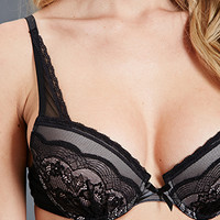 Lace-Paneled Mesh Demi Bra