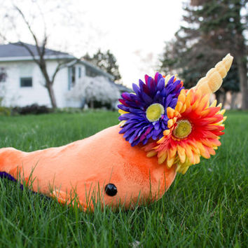Orange Spring Flower Narwhal Stuffed Animal Plush Toy Plush, One of a Kind