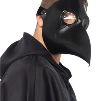 Faux Leather Plague Doctor Mask In Black