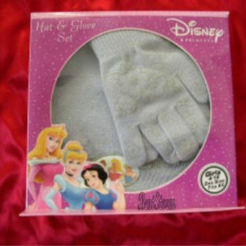 Licensed cool NEW Disney PRINCESS Cinderella & Belle & Aurora GRAY GLOVE BEANIE HAT SET 4-14