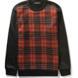 Givenchy - Leather-Sleeved Checked Wool-Blend and Cotton-Jersey Sweatshirt   MR PORTER