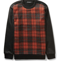 Givenchy - Leather-Sleeved Checked Wool-Blend and Cotton-Jersey Sweatshirt | MR PORTER