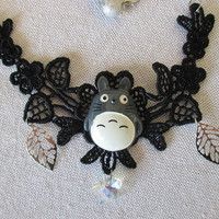 Totoro Necklace - Guardian of The Forest - Lace & Bead neclace - Studio Ghibli Jewelry