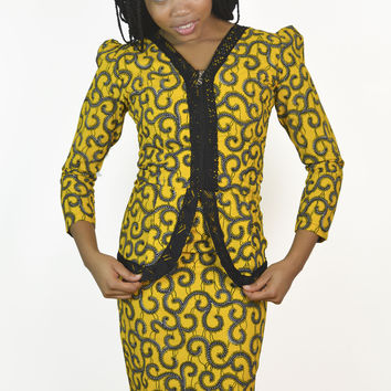 Vintage yellow jacket & skirt with African prints