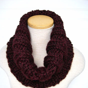 Knit Cowl Scarf Merlot Hand Knitted by WindyCityKnits on Etsy