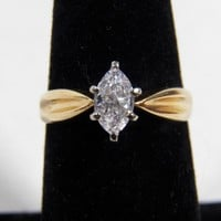 14K Yellow Gold 0.41 Carat  Marquise Shaped Diamond Engagement Ring