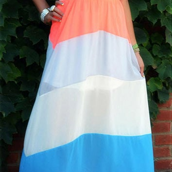 Elegant Coral & Cobalt Illusion Maxi Dress