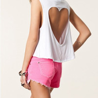 White Sleeveless Heart Shape Cut-Out Crop Top