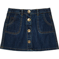 Mini girls blue button down denim skirt