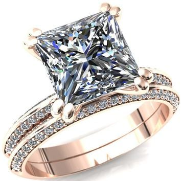 Nancy Princess/Square Moissanite 4 Double Prong 1/2 Eternity Diamond Knife Shank Accent Engagement Ring