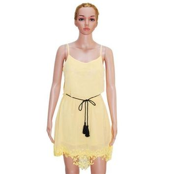Sleeveless Suspender pretty Macrame Mini Chiffon Dress