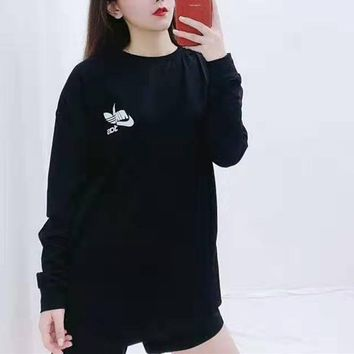"""Aaidas NIKE"" Woman Leisure Fashion Letter Luminous Personality  Printing Loose Long Sleeve Tops Skirt"