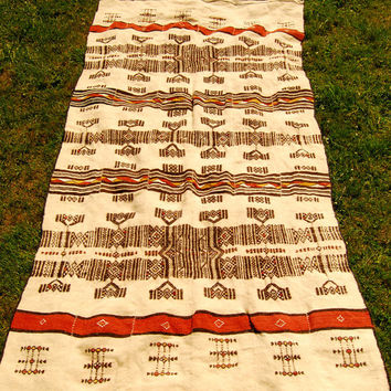 Vintage Navajo Blanket 98 X 52, Wool Southwestern Blanket Throw, Handwoven Boho Hippie Festival Mexican Blanket, Ethnic Native Bohemian Rug