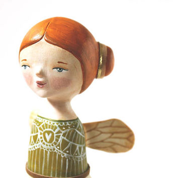 FREE SHIPPING Art doll - hand sculpted  OOAK figurine -  winged girl with a birdcage body - paper clay sculpture