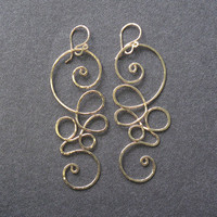 Nouveau 111 Hammered swirl earrings by CalicoJunoJewelry on Etsy