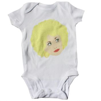 Dolly Parton Baby Bodysuit (Toddler Sizes Available Too) – Illustrated and Handmade in the USA