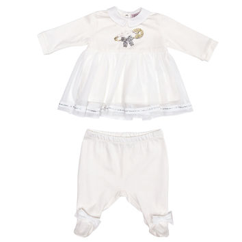 Monnalisa Bebe - Baby Girl Footie Set With Bows, White - 9M