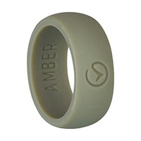 Amber® Men's Flexible Silicone Rubber Wedding Band Ring, for an Active Lifestyle (Grey, 8)