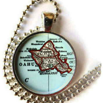 Honolulu, Oahu map necklace, Island of Oahu, Hawaii necklace, Hawaiian Jewelry, photo pendant
