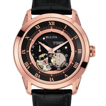 Bulova Mens BVA Series Automatic - Black Dial - Subdials - Leather Strap