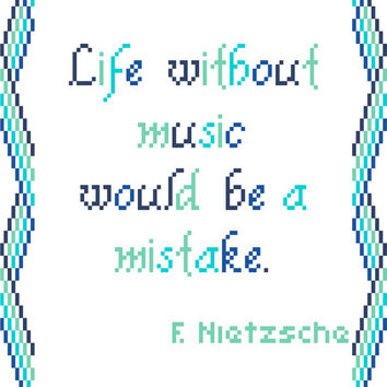 Modern cross stitch sampler in blues. Nietzsche's quote contemporary cross stitch pattern.