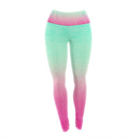 "Monika Strigel ""Sunny Melon"" Aqua Magenta Yoga Leggings"