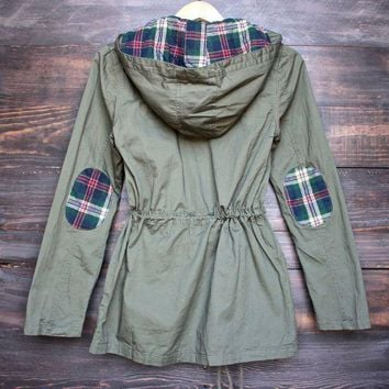 ESBQFN womens plaid hooded military parka jacket - olive green