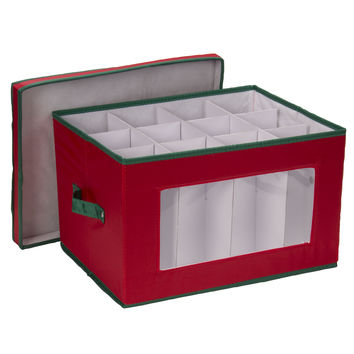 Household Essentials Holiday Stemware Storage Chest for Goblet Styled Glasses