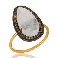 14K Solid Yellow Gold Pave Set Diamond And Rainbow Moonstone Stackable Ring