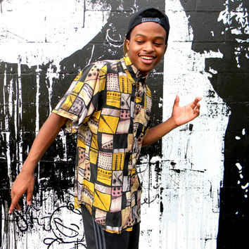 Fresh Prince 3 - Vintage Abstract Print Silk Shirt - 90s Short Sleeved Tribal Design Mens Shirt - Boys II Men, Hip Hop Dancer Gear - S Small