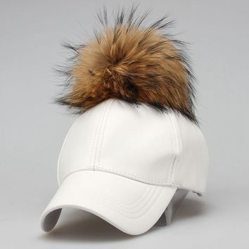 Trendy Winter Jacket 2018 Fashion Real Raccoon Fur Pompoms Hats Hip Hop candy color PU Leather Baseball Cap women Fur Snapback Hat Caps AT_92_12
