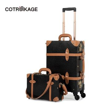 """COTRUNKAGE Carry On Suitcase TSA Lock Vintage Suitcase Black Pu Leather Rolling Trunk 2 Piece Luggage Set with 13"""" Cosmetic Case"""