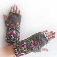 FREE SHIPPING, Grey Stitch Knit Fingerless Gloves, Arm Warmers