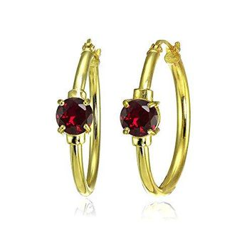 Yellow Gold Flashed Sterling Silver Genuine Created or Simulated Gemstone Solitaire 25mm Hoop Earrings