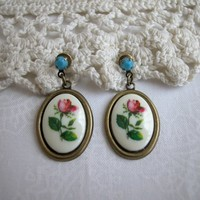 Cameo Drop Earrings, Vintage Rose Cabo Swarovski Turquoise Ear Posts